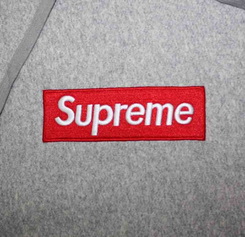 gray box logo pullover supreme hoodie dopestudent. Black Bedroom Furniture Sets. Home Design Ideas