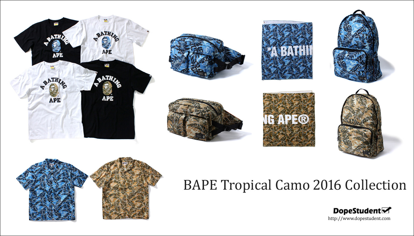 "102e96d6e7f9 A Bathing Ape supplements its waist bag collaboration with PORTER by  unveiling a range of complementary ""Tropical Camo"" apparel and accessories."