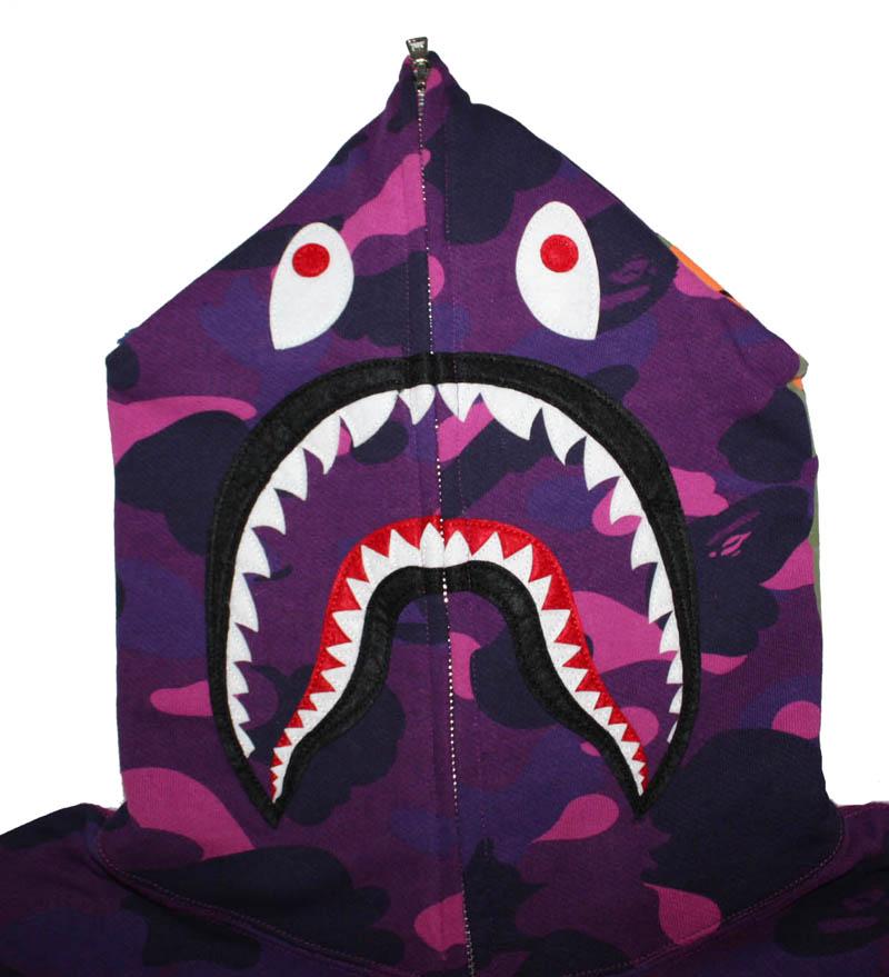 Purple Camo Full Zip Bape Shark Hoodie