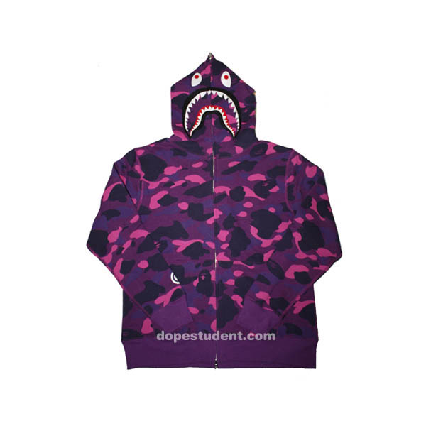 d646c805 Purple Camo Full Zip Bape Shark Hoodie | Dopestudent