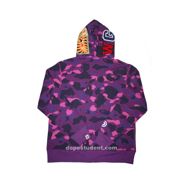 Purple Camo Full Zip Bape Shark Hoodie  a359d06141d1