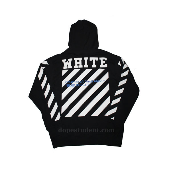 Off-White Blue Collar Pullover Hoodie | Dopestudent
