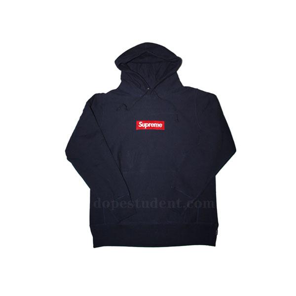 be725d0b4c87 Navy Box Logo Pullover Supreme Hoodie