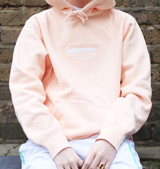 Peach Pink Box Logo Supreme Hoodie  Dopestudent