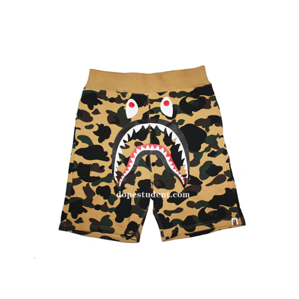 00793cab5e Bape Yellow Camo Shark Shorts | Dopestudent