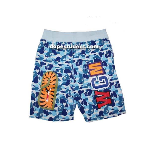72f6132f45be Bape Blue ABC Camo Shark Shorts. Previous  Next