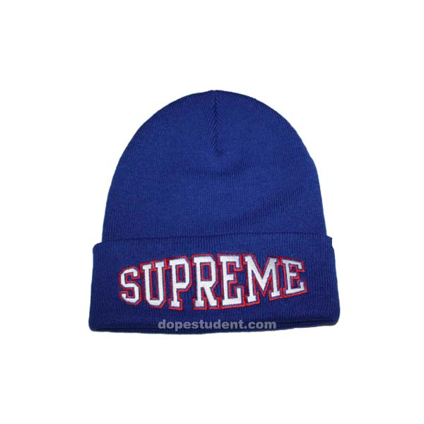Supreme Text Embroidery Beanie Dopestudent