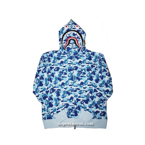 e8634bc8a475 Blue Full Zip ABC Camo Bape Shark Hoodie. Previous  Next