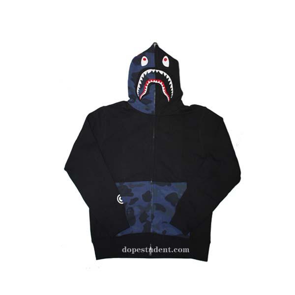 half blue camo black bape shark hoodie dopestudent