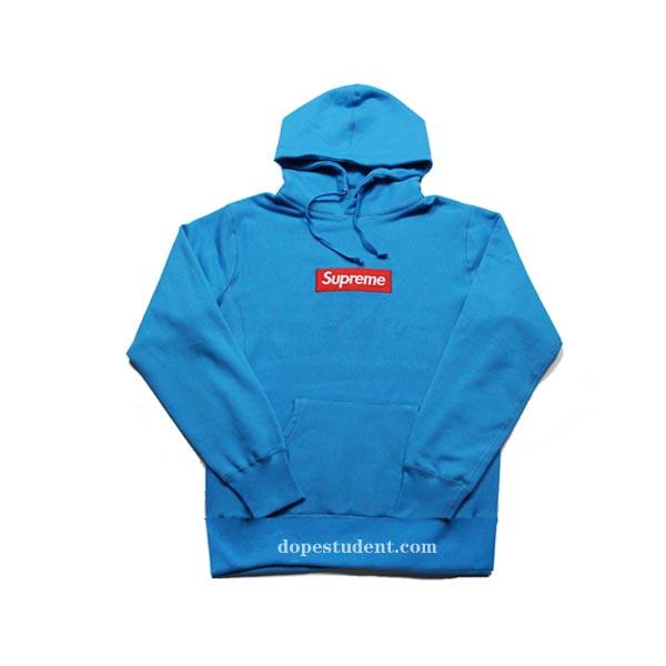 Teal Blue Box Logo Supreme Hoodie  ca35fc25a8b6