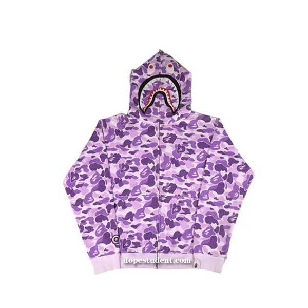 d1536d43ded8e Purple City Camo Full Zip Bape Shark Hoodie | Dopestudent