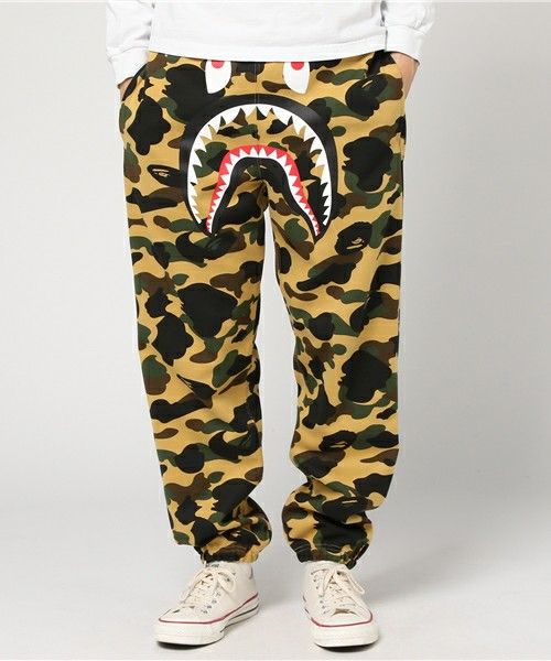 lovely luster online for sale hoard as a rare commodity Bape Yellow Camo Shark Sweatpants