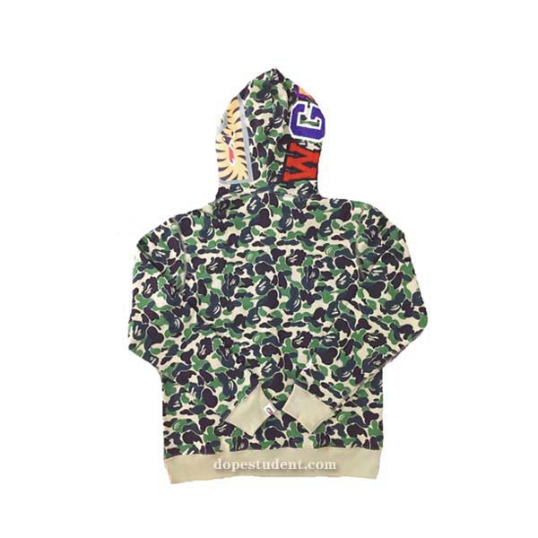 963136a7 Green ABC Camo Full Zip Bape Shark Hoodie | Dopestudent