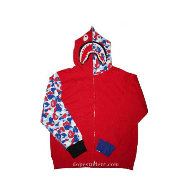Half Camo Paris Red Bape Shark Hoodie  2aa8f51dbc87
