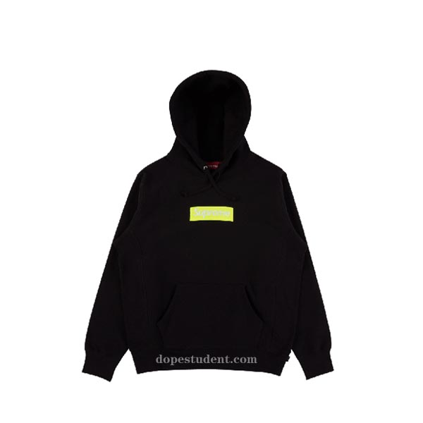 2017fw Black Box Logo Supreme Hoodie Dopestudent