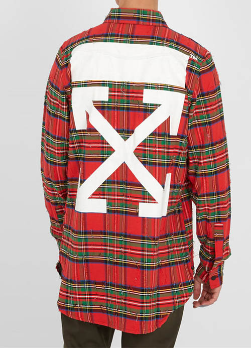 2b3d82172ae7a Off-White Destroyed Plaid Arrow Red Shirt