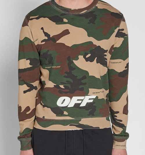 Off White 2018ss Camo Crewneck Sweatshirt Dopestudent
