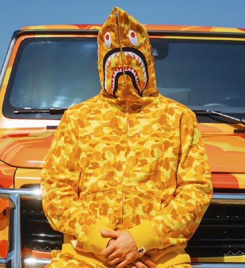 Orange Camo Bape PUBG Shark Hoodie   Dopestudent